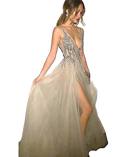 Glamorous Sexy Evening Dresses 2018 Deep V-Neck A-Line Beaded Bodice with Slit Tulle Prom Dresses Long Vestido de Fiesta Grey-US6