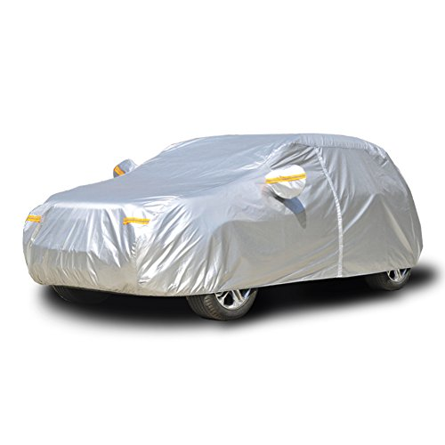 Kayme Car Covers For Automobiles Waterproof All Weather Sun Uv Rain Protection With Zipper Mirror Pocket Fit Hatchback (160 To 173 Inch) 2L