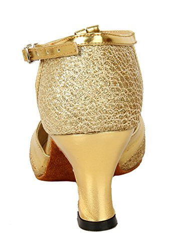 Honeystore Jane Latin Gold Closed Strap Shoes Glitter T Toe Dance Women's Dance Mary RRwnxFqrH
