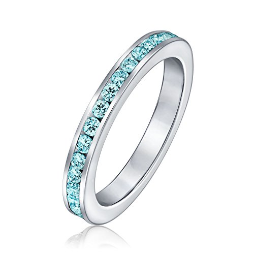 Aqua Blue Cubic Zirconia Stackable CZ Channel Set Eternity Band Ring For Women Simulated Aquamarine 925 Sterling ()