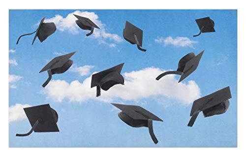 Lunarable Graduation Doormat, Caps Thrown into Sky Last of The School Highschool College Ceremony Picture, Decorative Polyester Floor Mat with Non-Skid Backing, 30 W X 18 L Inches, Blue Black