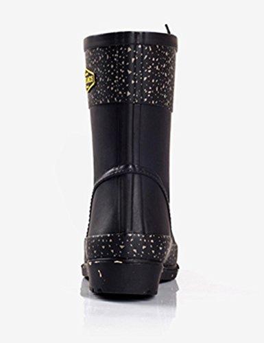 Insun Mid Calf Lace Up Botas De Lluvia Para Mujer Print Black
