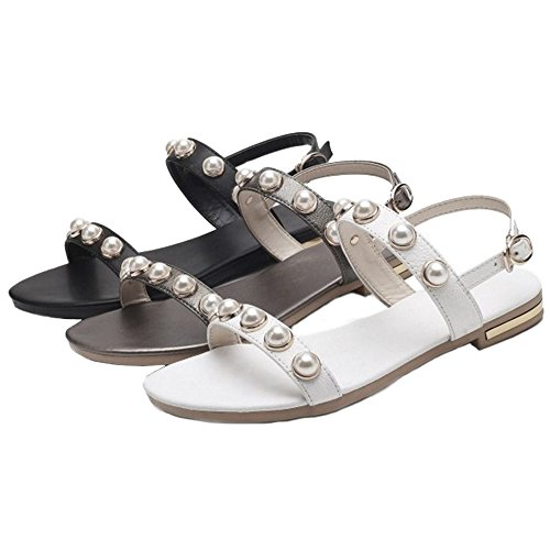 SJJH Women Flat Sandals with Open Toe and Back Leisure Sandals with Large Bronze QkXQp