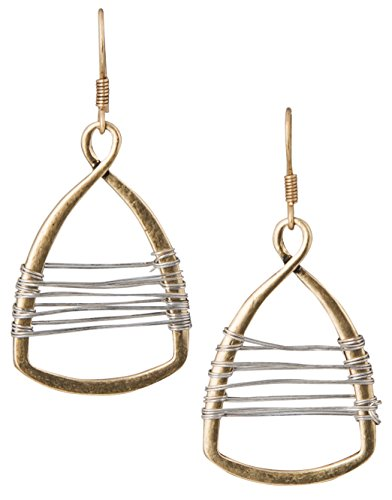 (Gold with Silver Wire Handmade Wire Wrap Teardrop Earrings)