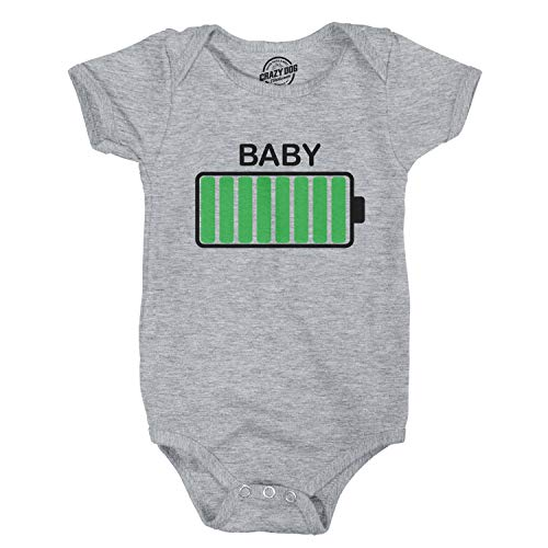 - Crazy Dog T-Shirts Baby Battery Fully Charged Funny 0-3 Months Infant Creeper Bodysuit for 0-3 Months (Heather Grey) - 0-3 Months