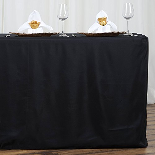 LinenTablecloth 6 ft. Fitted Polyester Tablecloth Black (Pack of 2)