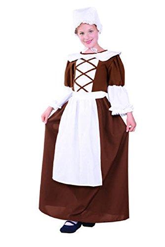 OvedcRay Colonial Peasant Teen Costume Pilgrim Pioneer Prairie Teenage Costumes (Colonial Peasant Teen Costumes)