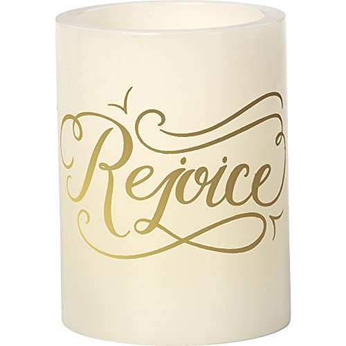 (Precious Moments Rejoice White 4-inch Flameless Pillar Candle)