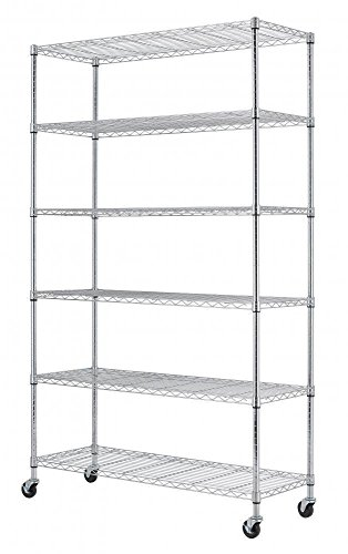 Home-it 6 Shelf Commercial Adjustable Steel shelving systems On wheels wire shelves, shelving unit or garage shelving, storage racks by Home-it