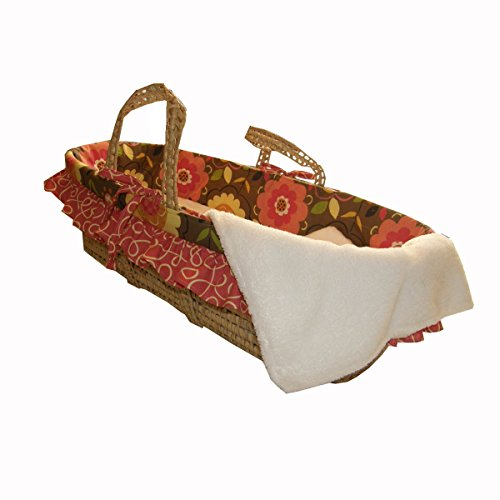 Cotton Tale Designs 100% Cotton Brown Multi Colored Garden Floral with Orange Vine Ruffle Girl Wicker Moses Basket