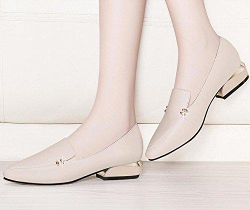 Cuir Chaussures Chaussures Le Mode En MUYII Grossiers été Chaussures Pour Décontracté Pour Femmes Talons Coréen à Printemps Beige Z4RxRgBw