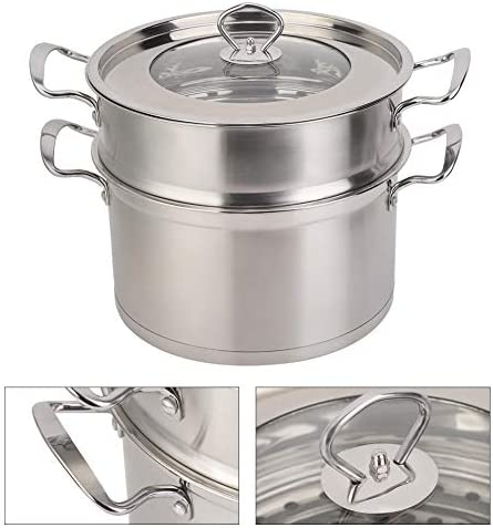 41L5CJUyR4L. AC Zerone Steamer Pot,26CM Stainless Steel Double Layer Food Steamer Pot Stockpot Cookware Household Cooking Tool    Specification: Condition: 100% Brand New Product material: 201 stainless steel Product specifications: 26cm Pot bottom type: composite bottom Product Type: Steamer, stockpot Product size: about 26 * 26 * 22.5cm / 10.2 * 10.2 * 8.9in Product features: steamed, boiled, braised, etc.