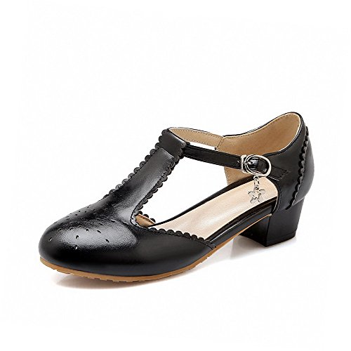 Allhqfashion Mujeres Low Heels Solid Hebilla Redondo Cerrado Bombas De Punta De Los Zapatos Negro