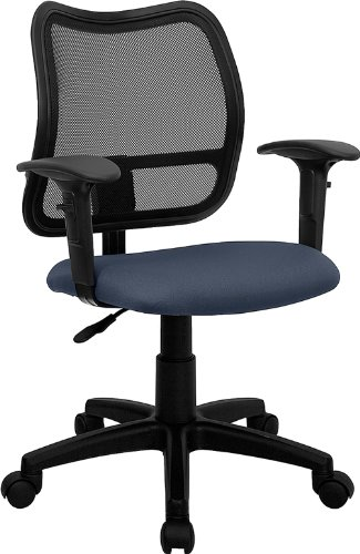 Flash Furniture Mid-Back Navy Blue Mesh Swivel Task Chair with Adjustable Arms by Flash Furniture
