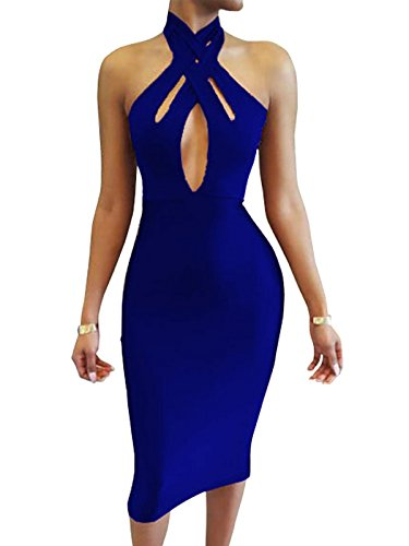 TOB Women's Sexy Halter Bodycon off Shoulder Club