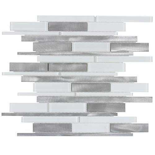 MTO0142 | Modern Linear White Gray Glossy Glass Metal Mosaic Tile