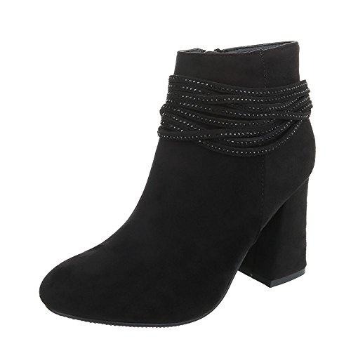 Chaussures femme Bottes et bottines Kitten-Heel Bottines High Heels Ital-Design Noir