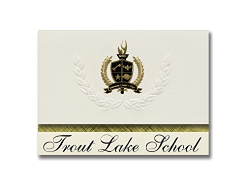 Trout Package (Signature Announcements Trout Lake School (Trout Lake, WA) Graduation Announcements, Presidential style, Basic package of 25 with Gold & Black Metallic Foil seal)