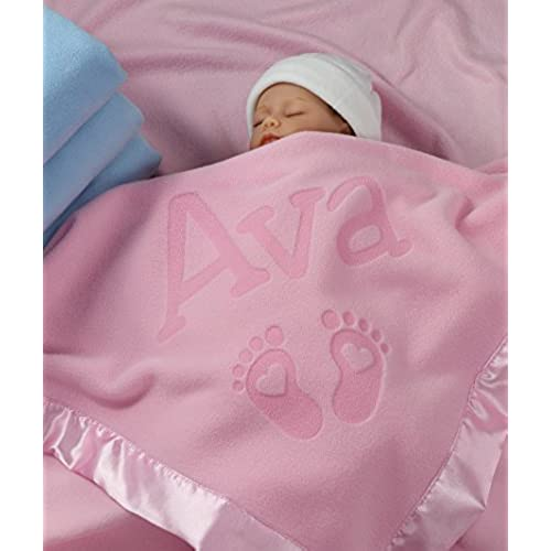 Personalized newborn baby gifts amazon personalized newborn gifts for baby girls boys or parents 36 x 36 inch satin trim custom blanket with name plus hearts and feet design add birth negle