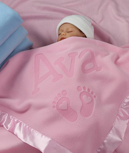 (Personalized Newborn Gifts for Baby Girls, Boys, OR Parents - (36 x 36 inch) Satin Trim Custom Blanket with Name Plus Hearts and Feet Design - Add Birth Date, Weight (Pink, Blue) )