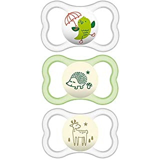 MAM Air Night and Day Pacifiers (1 Day and 2 Night Pacifiers), MAM Sensitive Skin Pacifier 16 Months, Best Pacifier for Breastfed Babies, Glow in The Dark Pacifier, Unisex