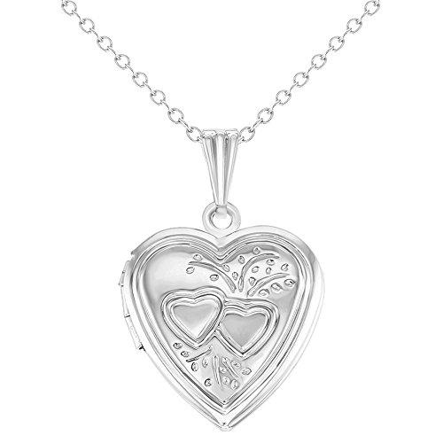 "In Season Jewelry Love Hearts Small Photo Memory Heart Locket Necklace Pendant 19"""