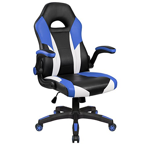 Homall Gaming Chair Racing Style Computer Chair PU Leather High Back Office Chair Ergonomic Desk Chair Executive Swivel Task Chair with Wide Seat Flip Up Padded Armrests (Wide Swivel Seat)
