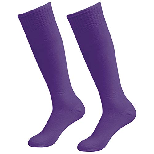 (Soccer socks Thin, diwollsam Mens Womens Bright Solid Color Summer Breathable Cool Cheering Uniform Casual Dress Volleyball Team Sport Knee High Socks 2 Pairs, Purple)