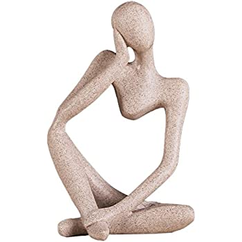 Ozzptuu Sandstone Resin Thinker Style Abstract Sculpture Statue Collectible Figurines Home Office Bookshelf Desktop Decor (Style 5)