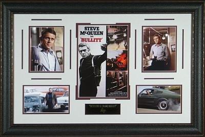 Steve McQueen unsigned Bullitt 24x37 Engraved Signature Series Leather Framed Photo - Mcqueen Signature Steve