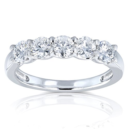 Five Stone 4/5 Carat TGW Round Brilliant Near Colorless Moissanite (HI) Bridal Wedding Band in 14k White Gold