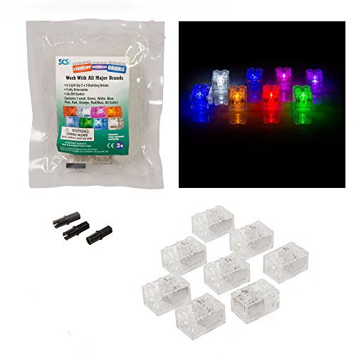 SCS Direct Light Up Building Bricks (2x3) - Multicolor for Each Brick - with On/Off and Dim Ability (Set of 8) - Tight Fit with All Major Brands