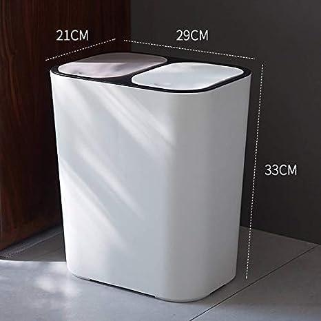 Papelera Rectangular de pl/ástico con Doble Compartimento Zeaih Capacidad de 12 l para Cocina o ba/ño