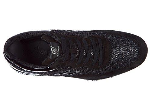 Scarpe Da Donna Hogan In Pelle Scamosciata Sneakers Interattive Nere