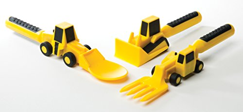Constructive Eating - Construction Utensil Set with Construction Plate 4 Engraved with a laser - No machinery touches plate surface Set comes with Construction Plate plus 3 Construction Utensils Makes eating fun for kids so theyll want to eat their vegetables!