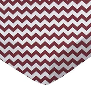 product image for SheetWorld 100% Cotton Percale Crib Sheet Set 28 x 52, Burgundy Chevron Zigzag, Inlcudes 1 Fitted, 1 Flat, 1 Toddler Pillow Case, Made in USA