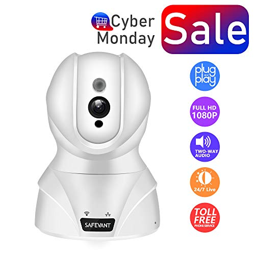 Security Camera, SAFEVANT HD Wireless IP Camera WiFi Surveillance Video Recorder with Two Way Audio Night Vision for Pet Monitor, Nanny Camera, Baby Monitor and Puppy Cam (1080P-White) (Audio Dig Cable)