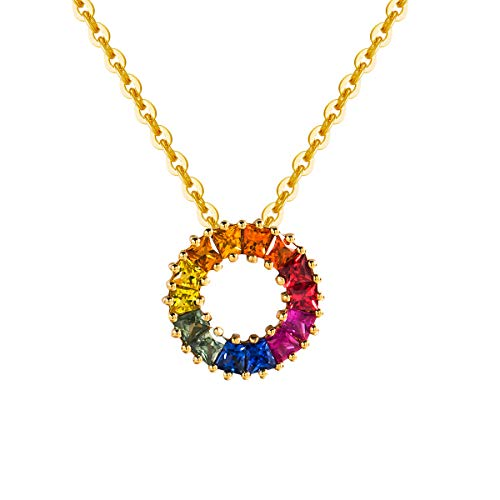 (Carleen 18K Solid Yellow Gold Genuine Natural Sapphire Round Circle Pendant Necklace for Women Girls Women, 16