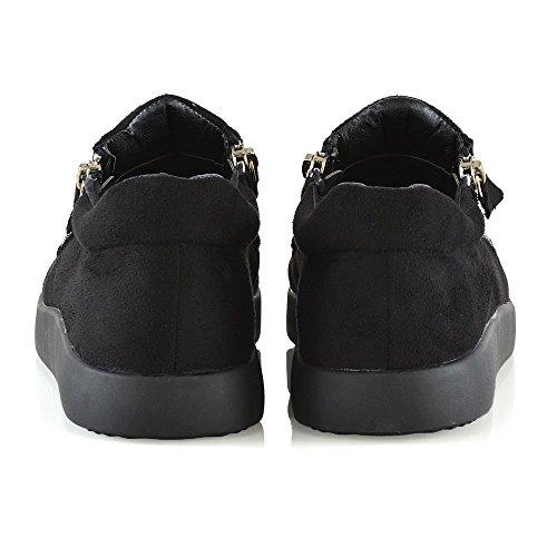 Zip Scarpa Glam Scamosciato Flessibile Suola Da Nero Sneaker Ginnastica Casual Finto Donna Essex Uw8dq58