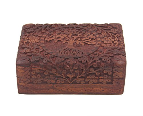 KayJayStyles Hand Carved Tree Of Life Wooden Storage Box (Large, Tree Of Life)