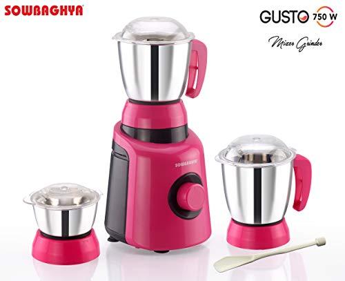SOWBAGHYA Gusto 750W Mixer Grinder (Pink and Black)
