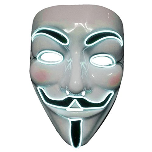 2017 Light Up EL LED V Face for Vendetta Movie Costume Guy Fawkes Anonymous Haloween Cosplay Mask (White)