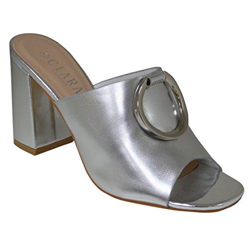 In Ciara Argento Oro Con Blocco Sandalo Tacco E A Da Fibbia Donna aqwP6rza