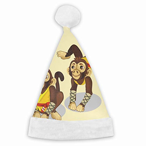 Santa Hat,Two Monkeys in A Karate Costume Animals Unisex Velvet Fabric Christmas Hat with Comfort Lining&Plush Brim -