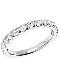 0.75 Ct Round Cut Diamond Wedding Ring for Her 14 Kt White Gold Eternity Band Ring (Color -White, Clarity I1)