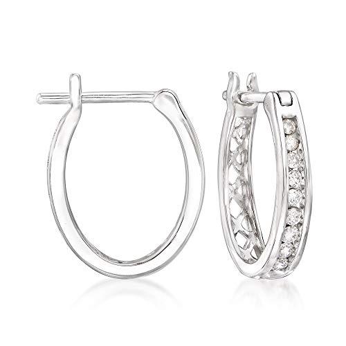 Ross-Simons 0.25 ct. t.w. Small Diamond Hoop Earrings in 14kt White Gold
