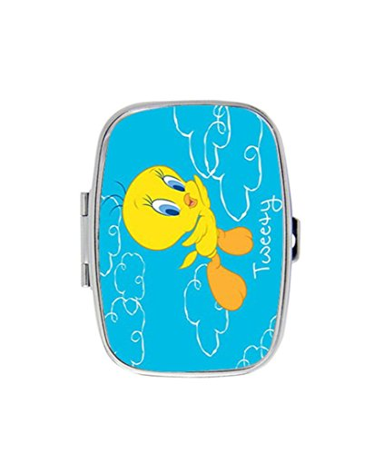 Tweety Bird Flying Custom Fashion Style Rectangle Pill Box Silver Jewelry Box,Coin ()