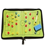 Association Football Maneuver Panel - Magnetic Training Football Soccer Tactic Board Folder Leather Portable - Dining Instrument Circuit Card Manoeuvre Gameboard Display - 1PCs