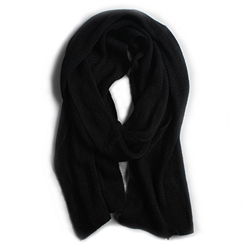 (HaloVa Men's Scarf, Autumn Winter Imitated Cashmere Scarf, Warm Muffler Neckerchief for Men Boys, Black)