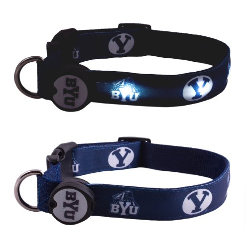 Dog-E-Glow Brigham Young University Cougars LIghted LED Dog Collar, Medium, 10-Inch by 15-Inch